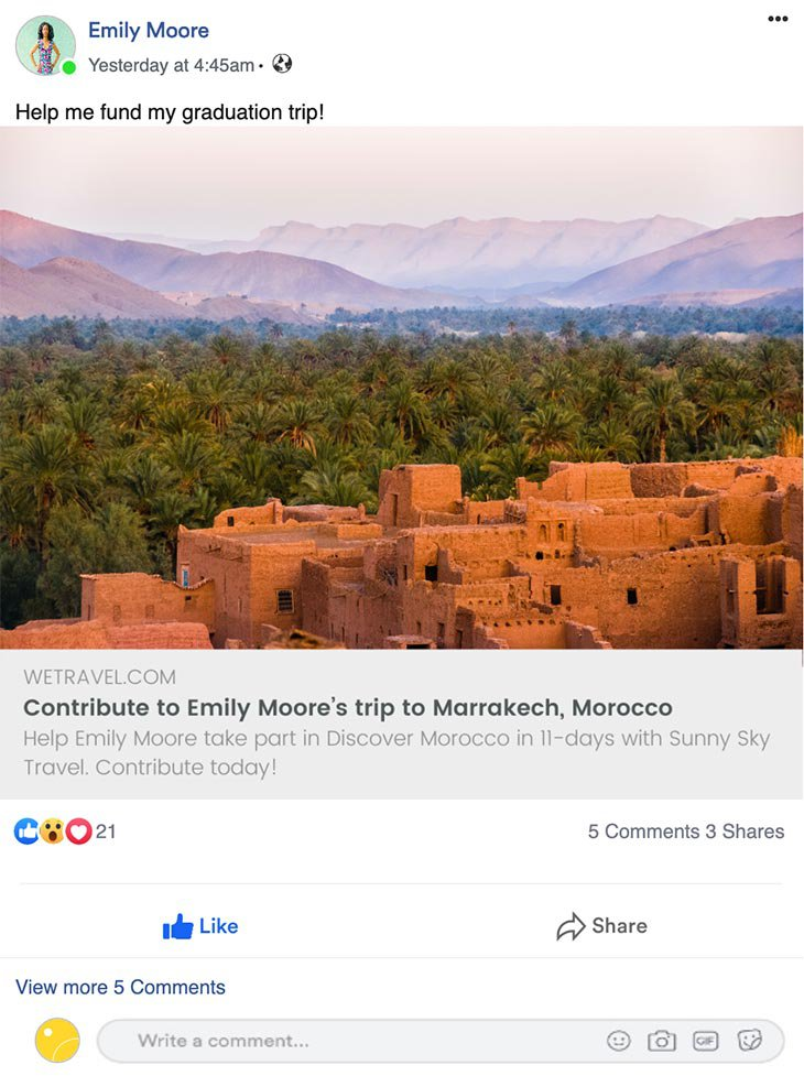 Facebook Share View Example