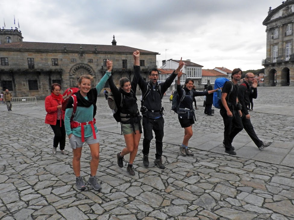 The group reached their goal at the end of the Camino Portugues.