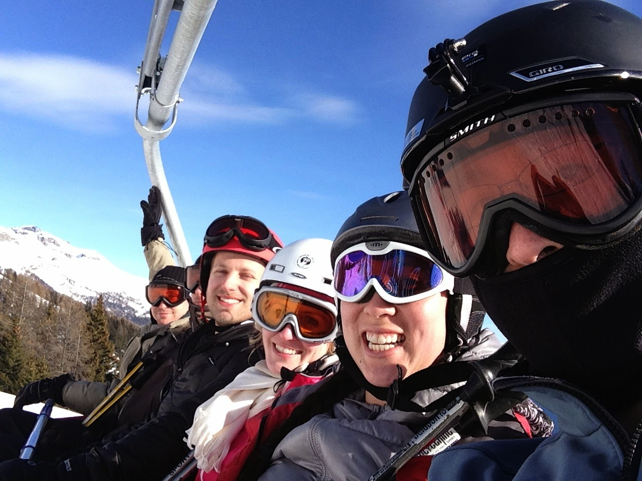 Riding up to the top of the slopes.