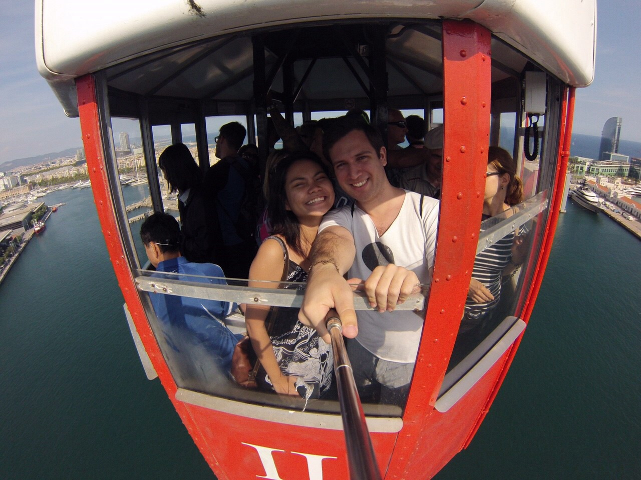 (Barcelona Cable Car) Traveling Abroad bringing new sights.