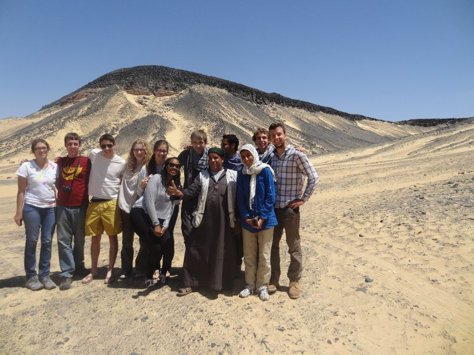Also known as the Black and White Deserts of the Sahara in Egypt, the group is with a kind local.